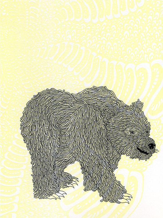 Woodland Bear Screenprint 8x10 di HeckYeahPrints su Etsy, $20.00