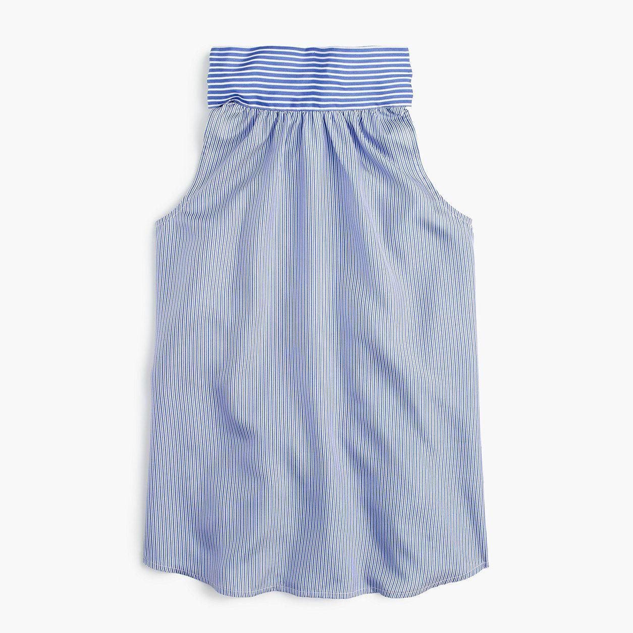 J.Crew Womens Petite Tie-Neck Top In Striped Silk (Size 10 Petite)
