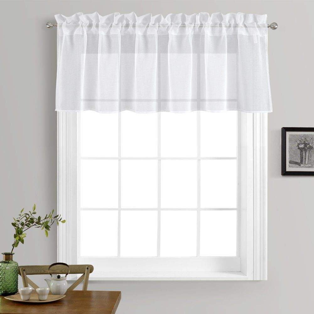 Kitchen Window Treatment Voile Valances - Small Window Linen Look ...