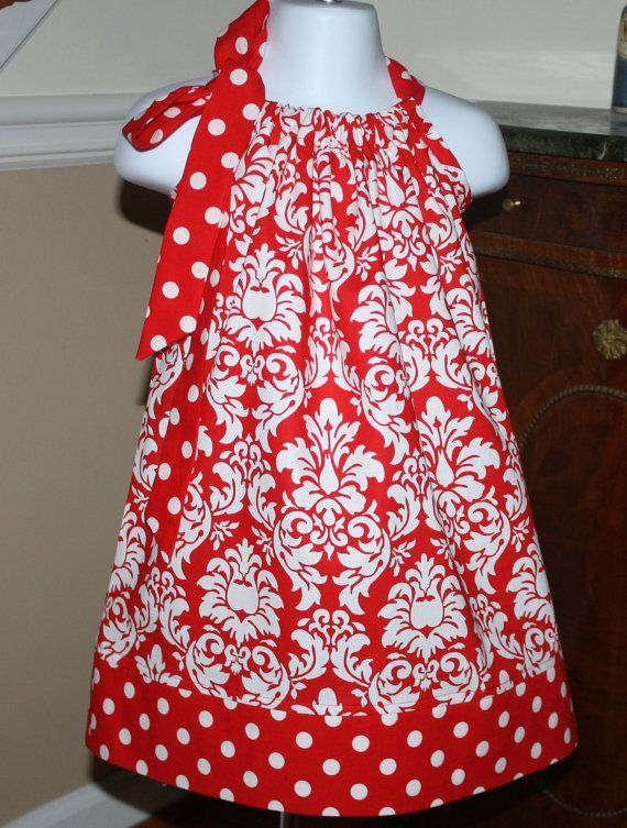 Pillowcase Dress valentines day damask Michael Miller girls baby ...