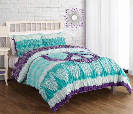 Green Purple Peace Sign Teen Girl Bedding Twin Full Queen