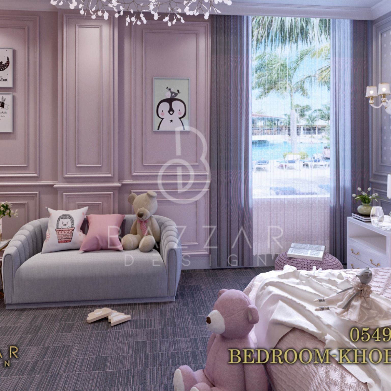 غرفه نوم بنت نيوكلاسيك بألوان وتصميم يتناسب مع عمر الطفله غرف نوم ديكور مودرن غرف نوم مودرن خليك بالبيت تصميم داخل Home Decor Chaise Lounge Decor