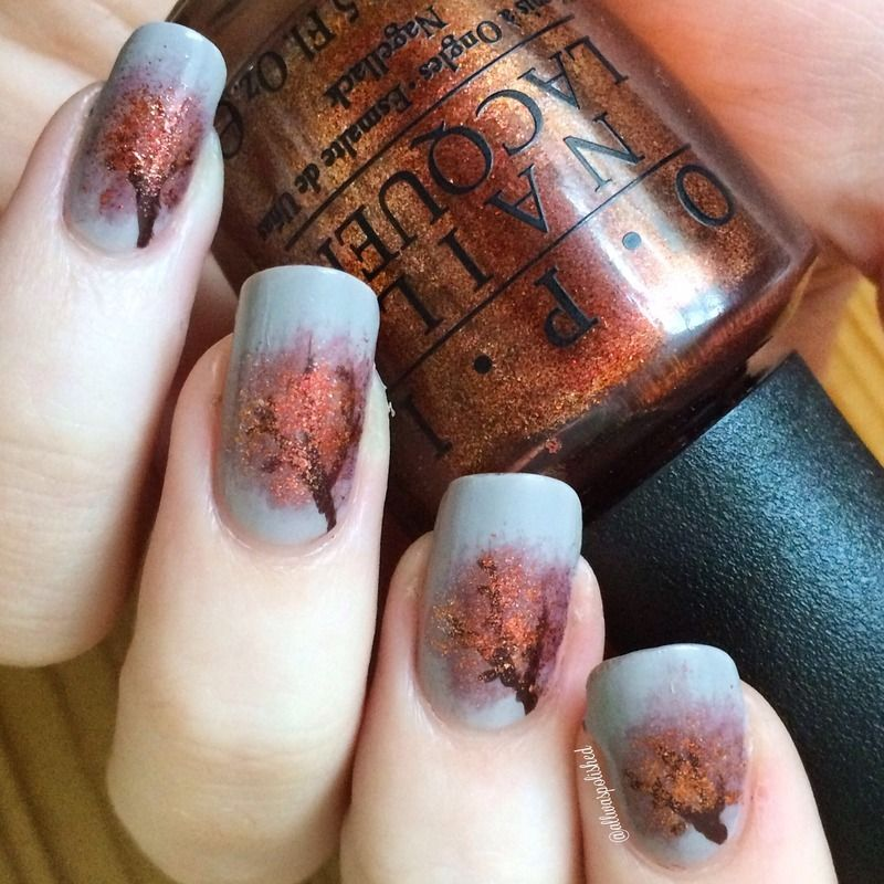 Nailpolis Museum of Nail Art | Fall Trees by Jess Clarke | Nail Art ...