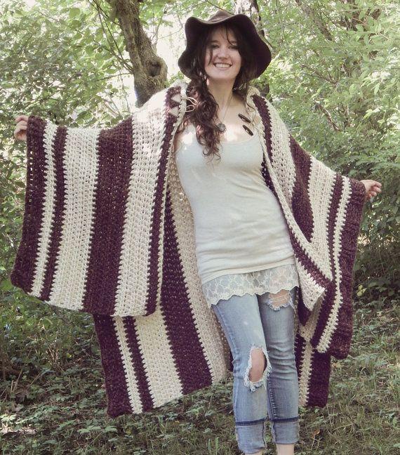 Crochet PATTERN: Woodsman\'s Wife Ruana / Pixie Hood Cape / Oversize ...