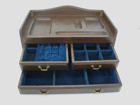 Wooden Jewelry Box Mens Valet Wood Dresser Top Cuff Links Organizer Storage Japan Wooden Jewelry Boxes Mens Jewelry Box Mens Valet