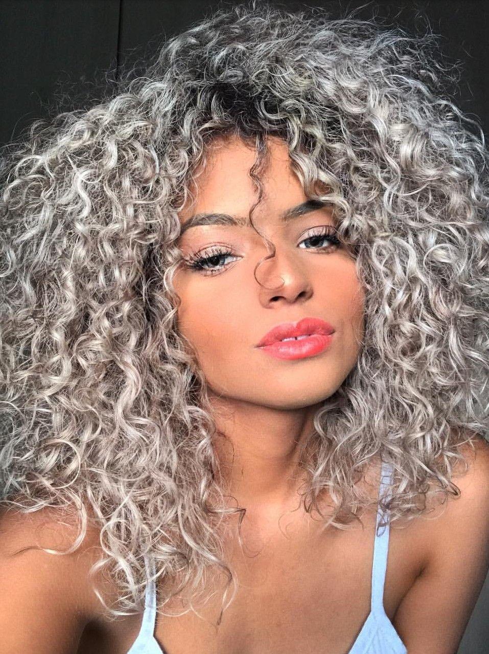 Pin By Francine Bushrey On Hair Color Curly Hair Styles Colored Curly Hair Curly Silver Hair