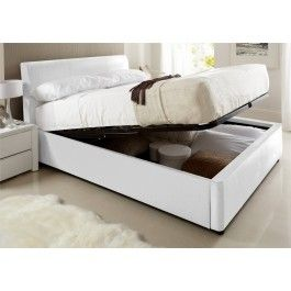 Astounding Henley White Leather Ottoman Storage Bed Ottoman Storage Gmtry Best Dining Table And Chair Ideas Images Gmtryco
