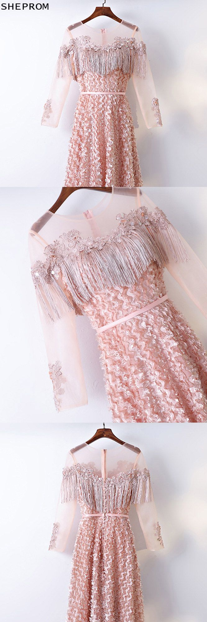 Unique long sleeve prom party dress with illusion neckline