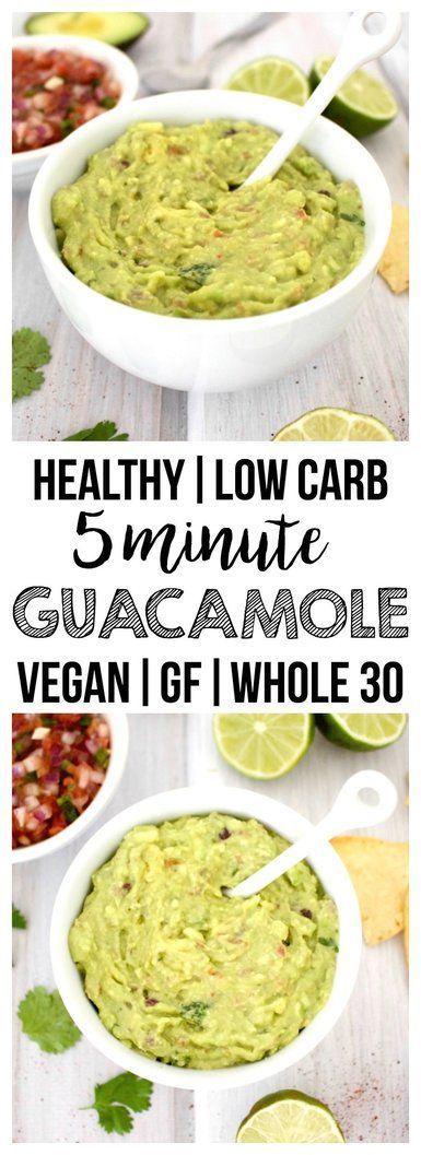five minute guacamole gesunde snacks pinterest rezepte mit wenig kohlenhydrate avocado. Black Bedroom Furniture Sets. Home Design Ideas