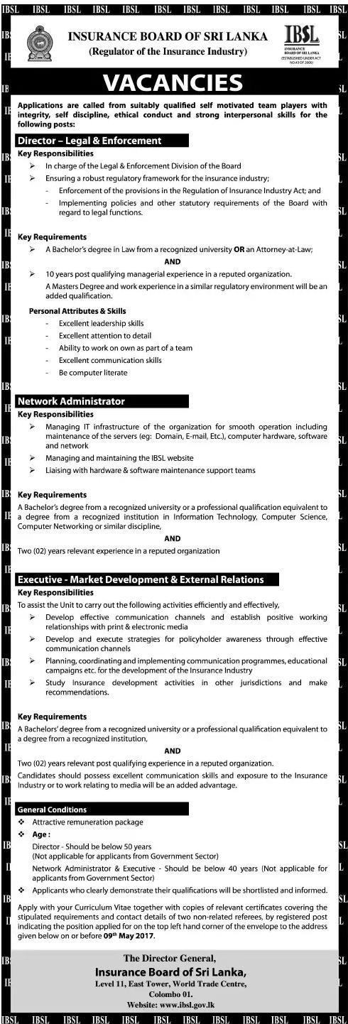Vacancies At Insurance Board Of Sri Lanka Career First