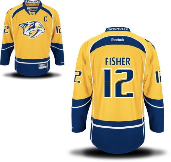 Men s Nashville Predators  12 Mike Fisher Yellow Home C Patch Stitched NHL  Reebok Hockey Jersey 6226a9d62