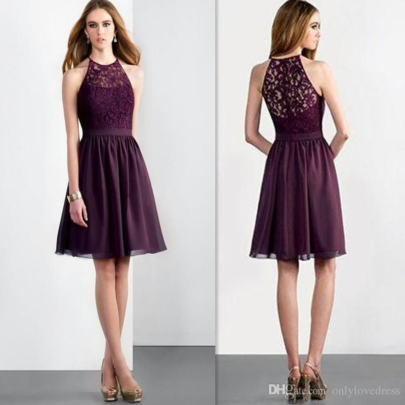 Purple Bridesmaid Dresses 2016 Sheer Lace Halter Neck Short Wedding Party Gowns Cheap Chiffon Knee Length