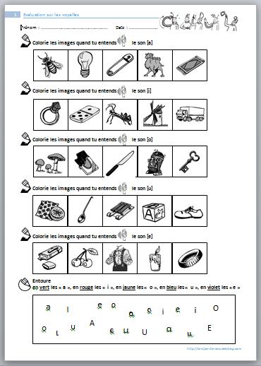 Evaluation - étude des sons en CP - le stylo de vero   Préscolaire   Pinterest   Sons