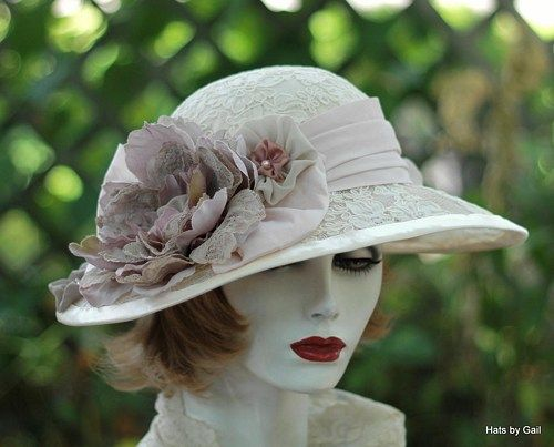 3c1676838f428 Custom Made Titanic Style Hat Lace Wide Brim for Summer in Teal ...