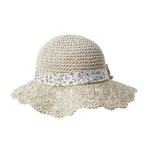 8de4c0cf84463a Buy John Lewis Children's Crochet Hat with Floral Bow, Natural Online at  johnlewis.com