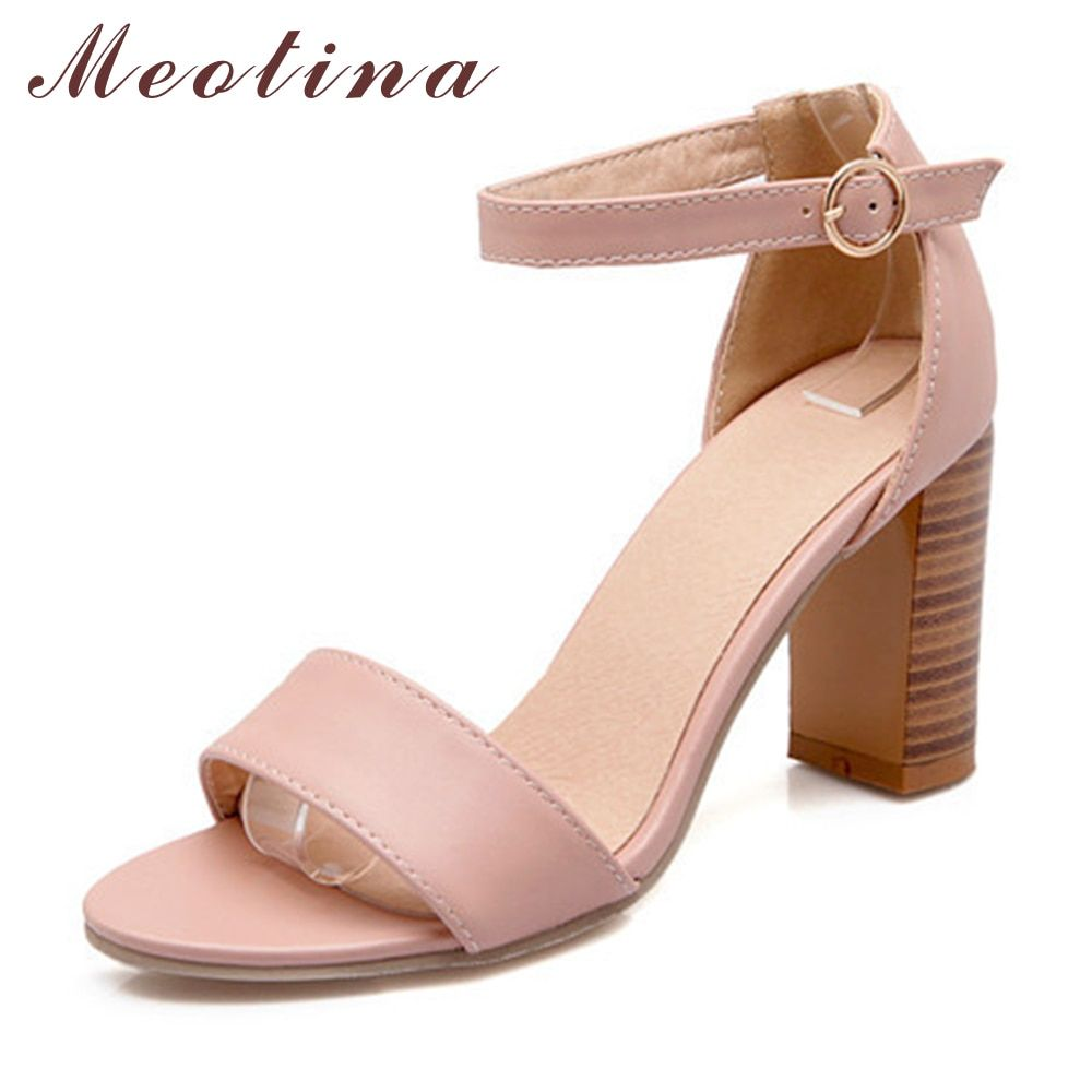 Meotina Shoes Women Sandals Summer 2018 Open Toe Ankle Strap Thick High  Heels Sandals White Pink Ladies Shoes Big Size 9 10 43 bc5dc9a20fa7