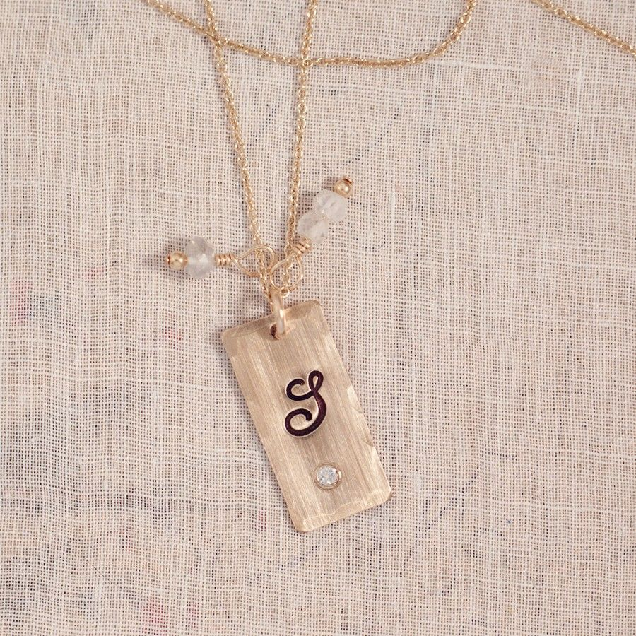 Initial Necklace Jewelry Gifts Coco Champagne Diamond Tag