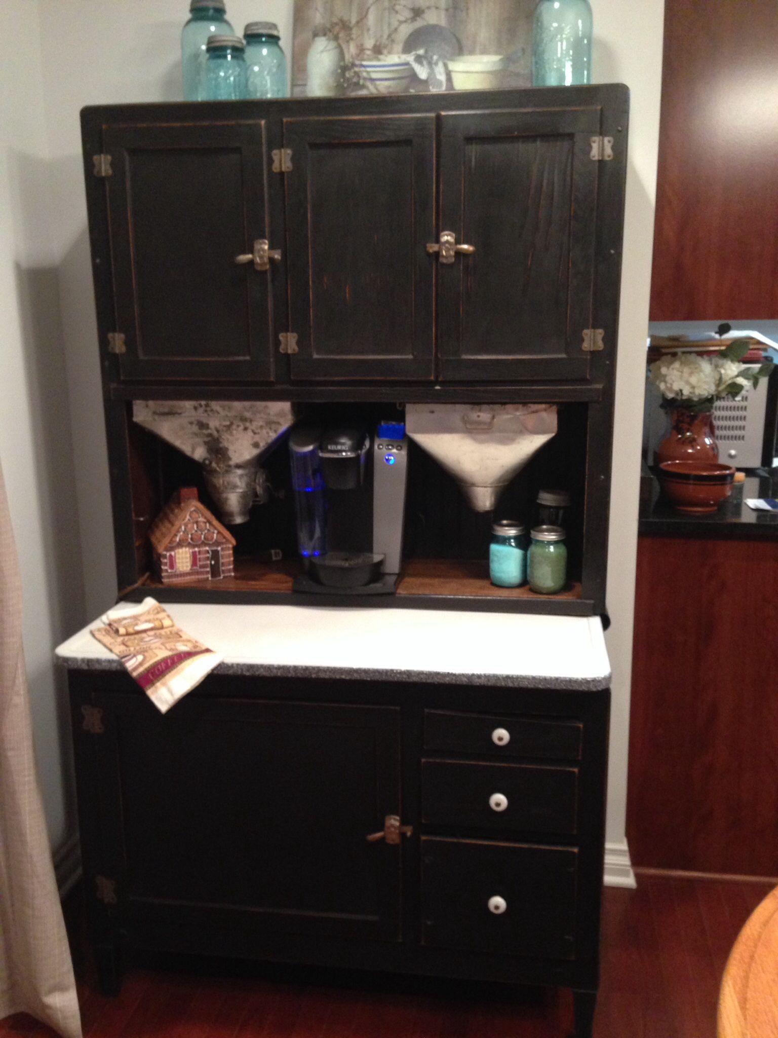 My beautiful renovated Hoosier cabinet turned coffee bar Thanks