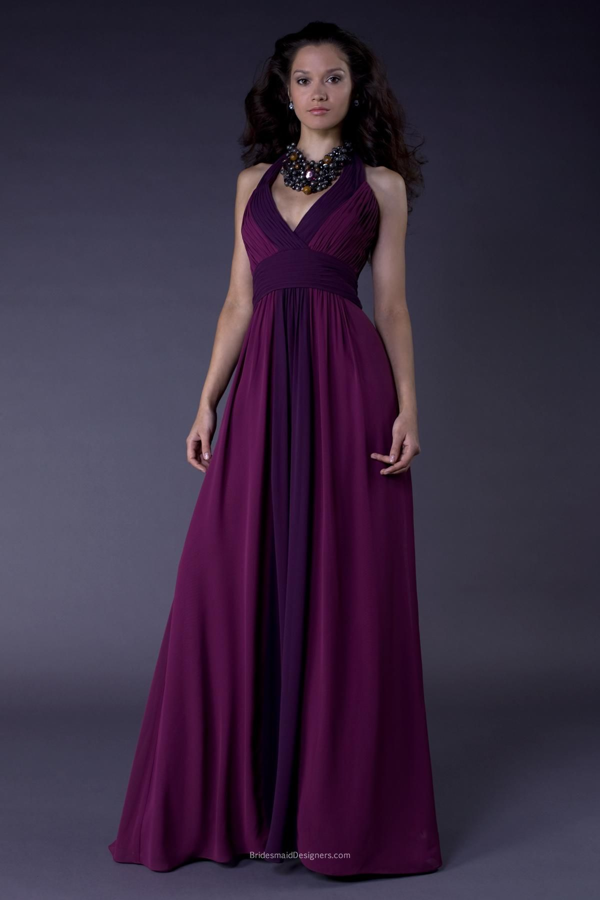 Timeless purple v-neck halter floor length empire pleated bridesmaid ...
