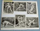Vintage Model Card Male Nude Physique 1950's Dual Pose Wrestling Series WPG
