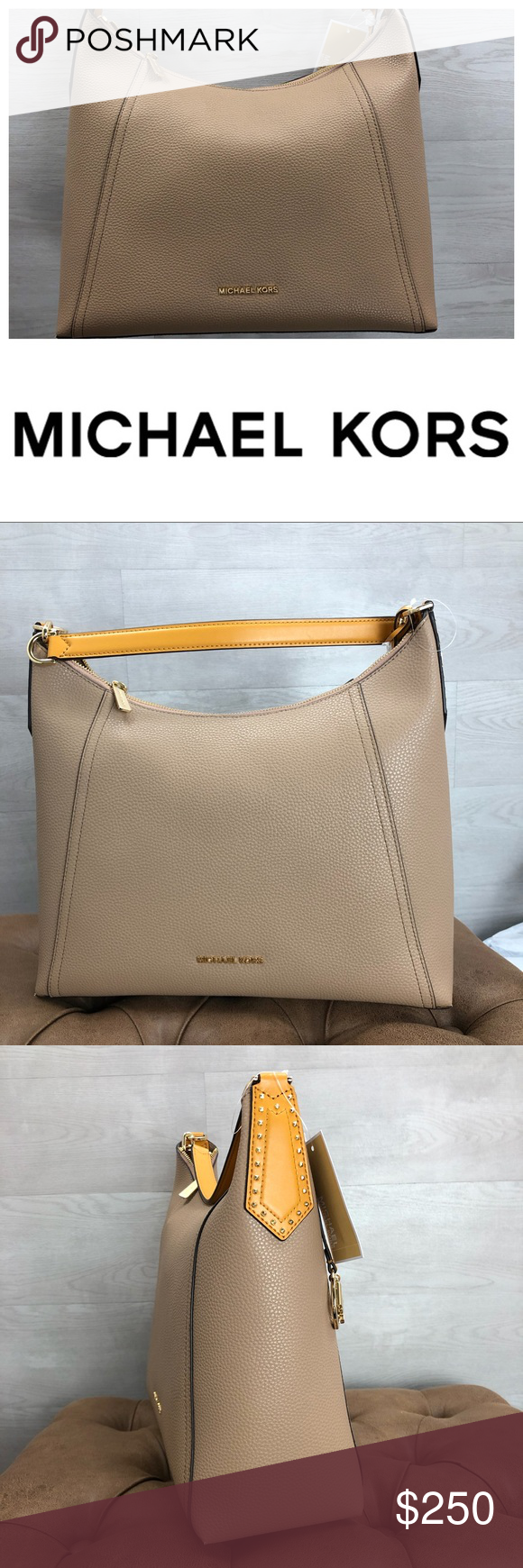 8ec581d88403 Michael Kors Kimberly Studded Large Shoulder bag Michael Kors Kimberly  Studded Leather Shoulder Bag with Wristlet