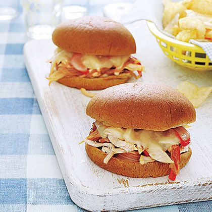 Philly Chicken Sandwiches.Made these tonite from the All You Magazine. They are delicious, inexpensive, and easy. We used a rotiserrie chicken already made from Sams Club. A must try!!