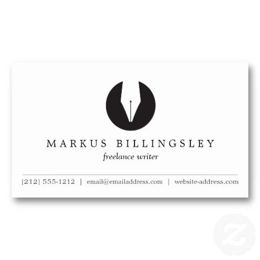 Calligraphy pen nib logo business card for authors