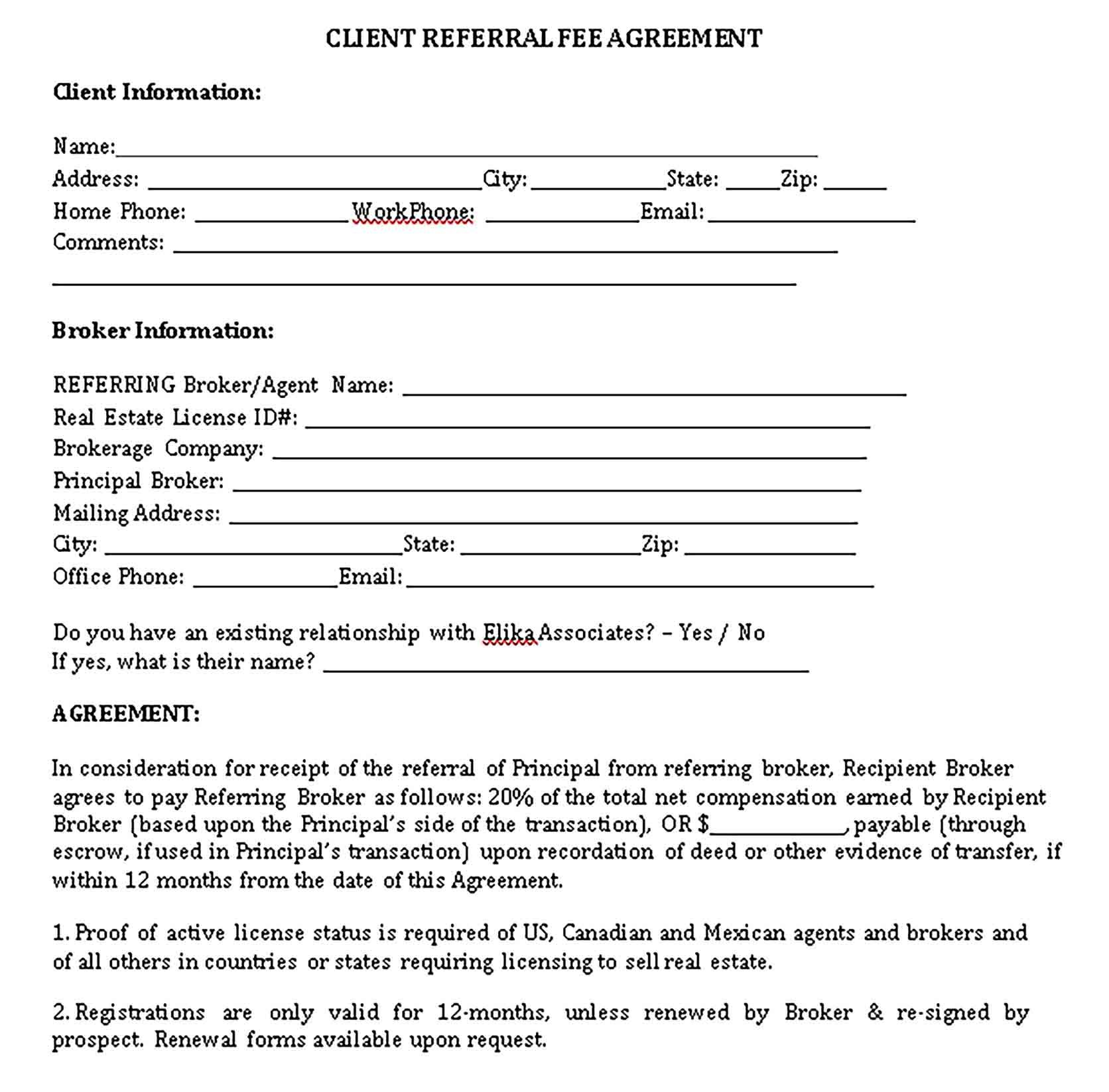 Real Estate Referral Agreements Sample Template Real Estate Client Referrals Real Estate License