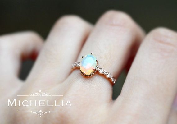Evelina Opal Engagement Ring Vintage Crown Oval Opal Ring Art