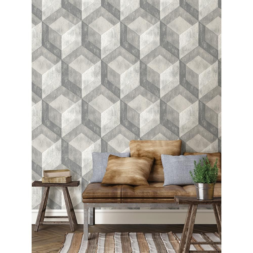 Nuwallpaper Bauhaus Weathered Wood Peel And Stick Vinyl Strippable Wallpaper Covers 30 75 Sq Ft Nu2085 The Home Depot In 2020 Weathered Wood Geometric Pattern Wallpaper Wallpaper Roll