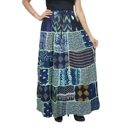 9a0b4145b Mogul Interior - Mogul Women's Indian Peasant Patchwork Long Skirt Printed  Hippy Chic Gypsy Bohemian Fashion