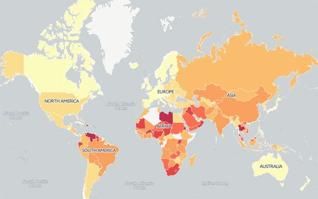 Mapped the worlds most dangerous places to drive destinations for a risk free driving holiday you might consider avoiding the destinations shown in red gumiabroncs Images
