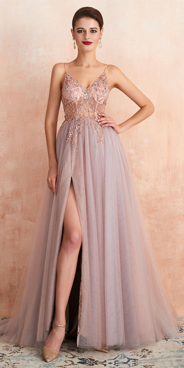 Long Prom Dresses, Tulle Prom Dresses, A-Line Party