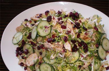 Make the swap from raisins to Craisins® Dried Cranberries in this recipe for Grilled Chicken Frisée Salad. http://www.oceanspray.com/Recipes/Corporate/Sauces,-Sides---Salads/Grilled-Chicken-Frisee-Salad.aspx