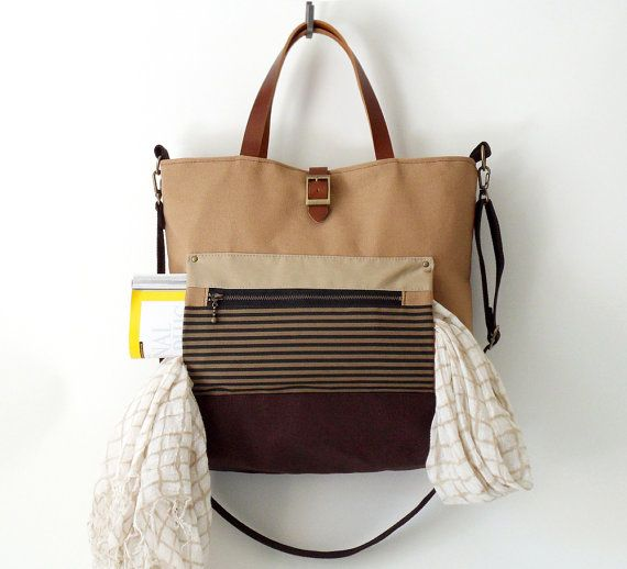 Unisex Dark beige and Brown canvas Tote  by BagyBags