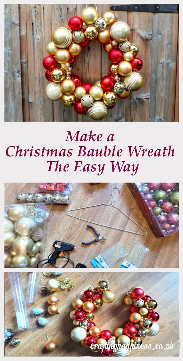 Make a Christmas Bauble Wreath the Easy Way | Crafting Happiness
