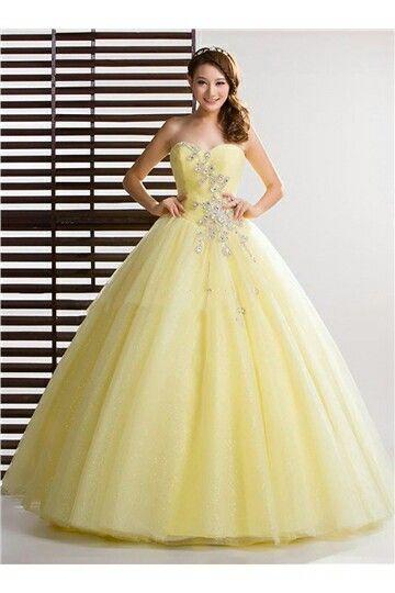 Hermoso Vestido Amarillo 15 Años Vestidos De Vestidos De