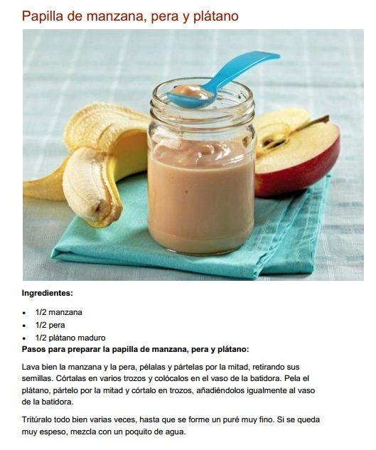 Papilla De Manzana Pera Y Plátano Food Baby Food Recipes Baby Food Storage
