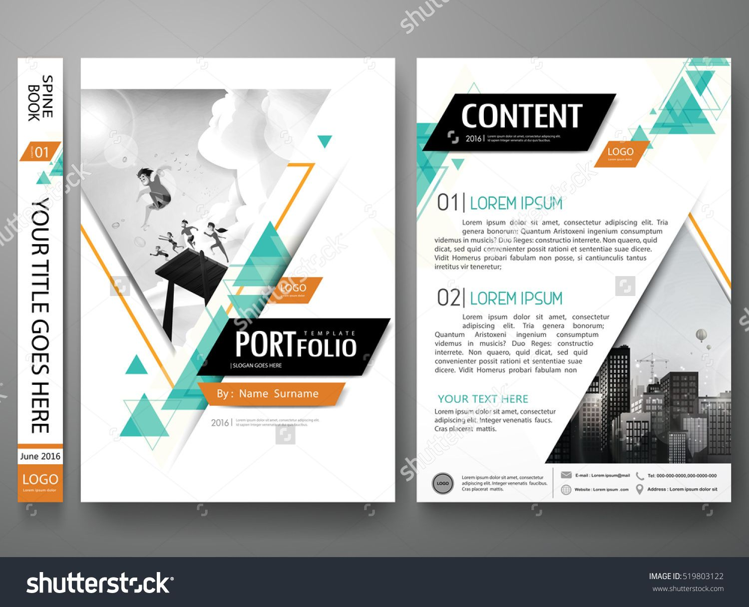 Portfolio design template vector. Minimal brochure report business ...