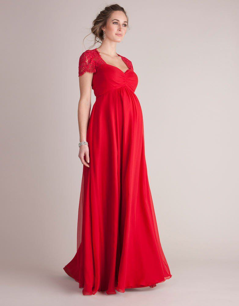 7aad7d0659 Scarlet Silk   Lace Maternity Evening Gown in 2019
