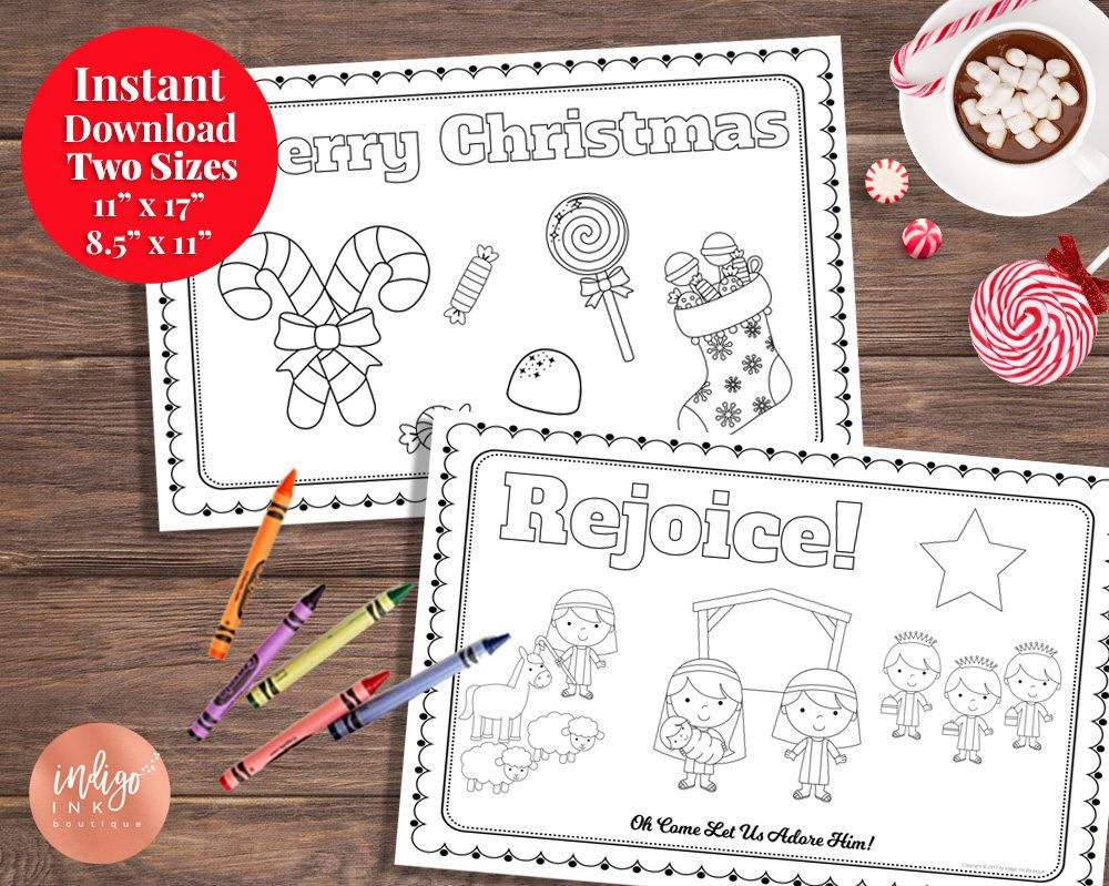 Christmas Placemat | Kids Coloring Paper Placemat | Kids ...