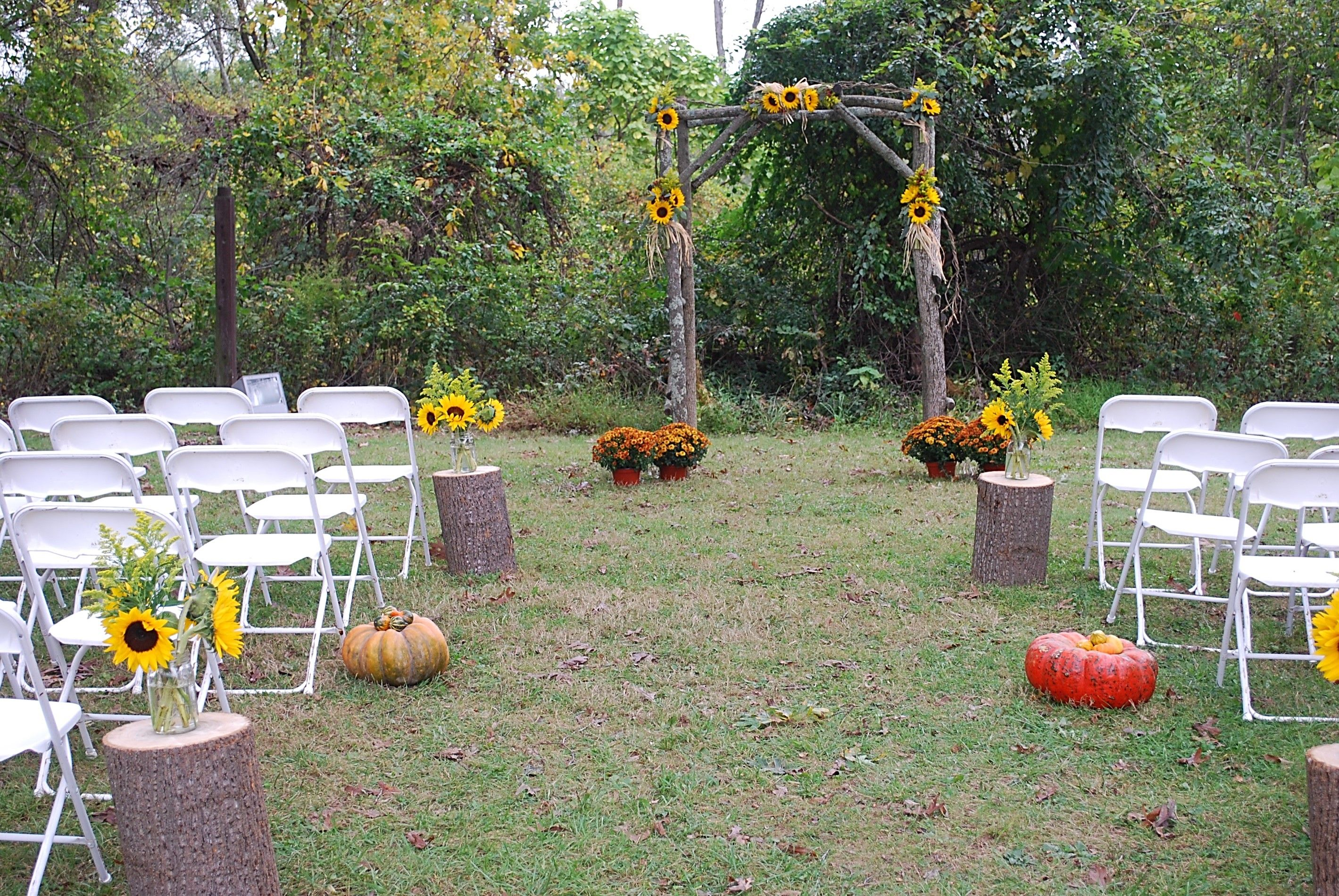 Fall Wedding Aisle Decorated With Pumpkins And Sunflowers Weddings