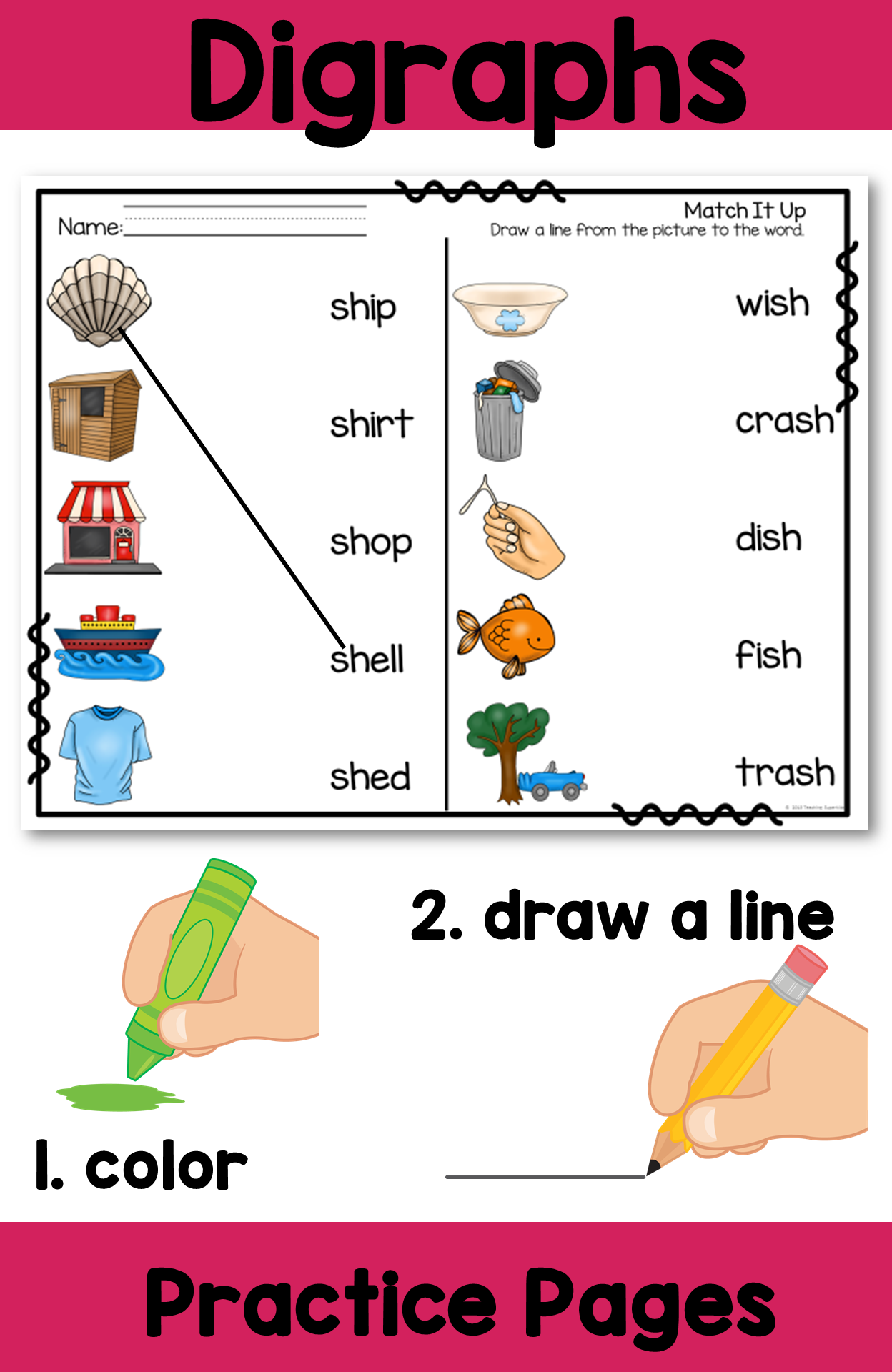 Worksheets Digraph Worksheets sh digraphs worksheets teacher created resources and word search digraph practice pages color the picture then draw a line