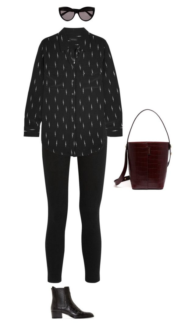 """""""Untitled #436"""" by amyjonez on Polyvore featuring Frame Denim, Equipment, Yves Saint Laurent, Mulberry and Alexander McQueen"""