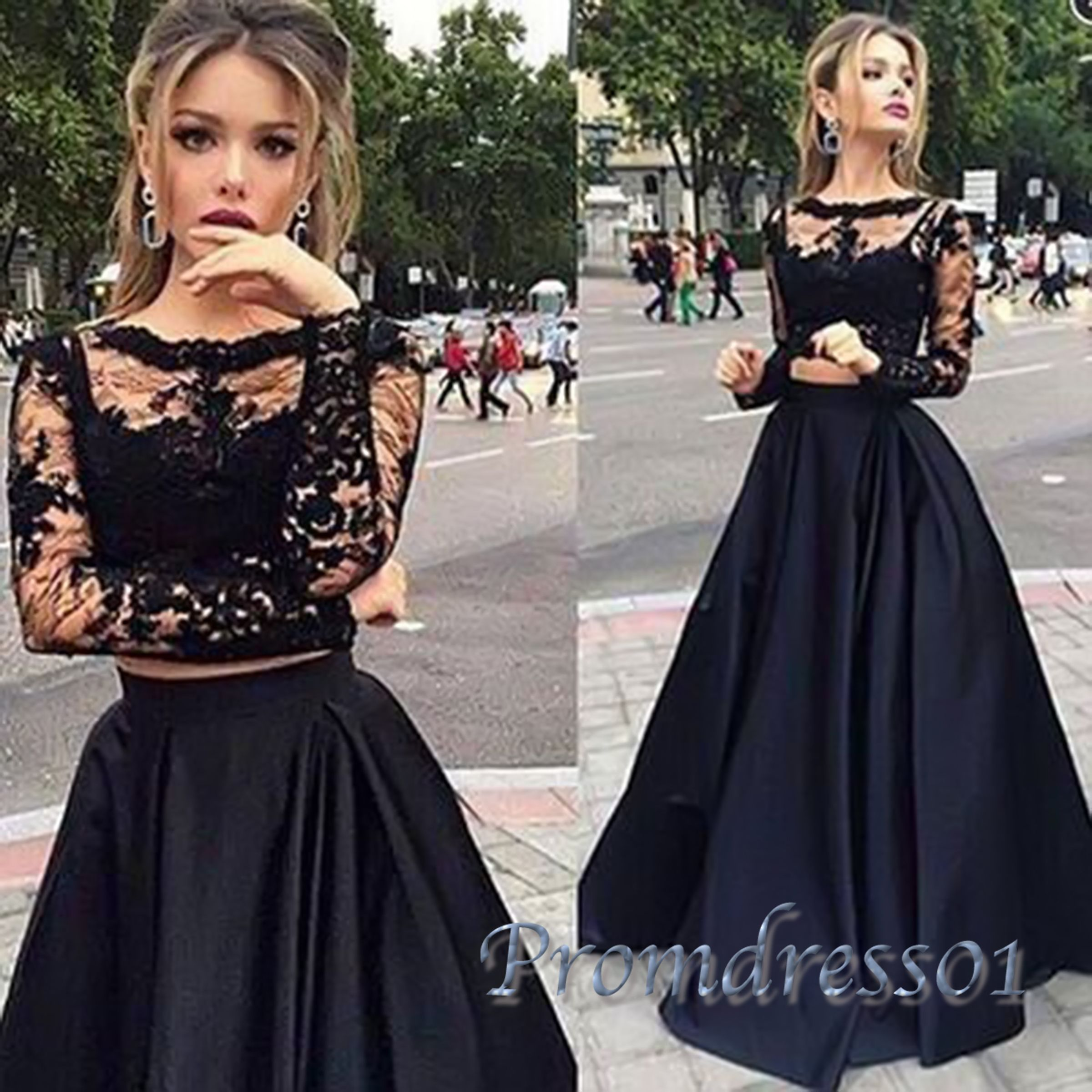 Cute black lace satin long modest prom dress for teens, two pieces ...