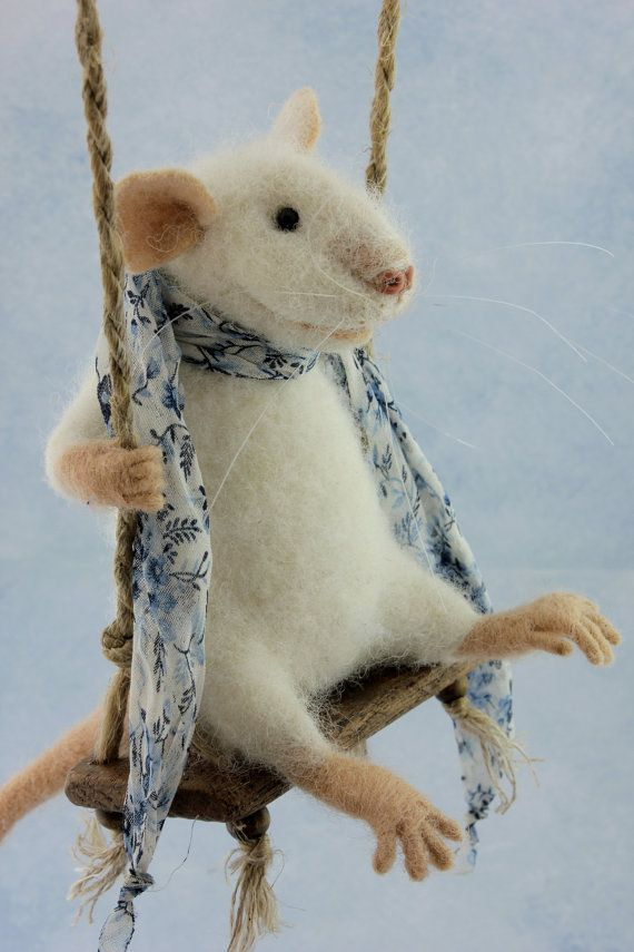 Schwingende Nadel gefilzte Maus, weiße Maus, Maus, weiche Skulptur, Filz Nadel gefilzt Tier, niedlich, Eco-Spielzeug, Kunst-Puppe #dollcare