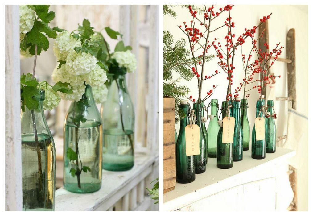01 decorar con botellas verdes jarrones - Decoracion Jarrones