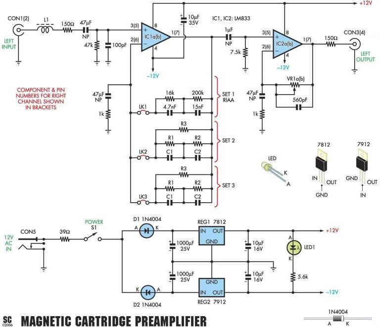 moving magnet mm riaa phono preamplifier schematic electronics rh pinterest com Amplifier Circuit Diagram phono preamp wiring diagram