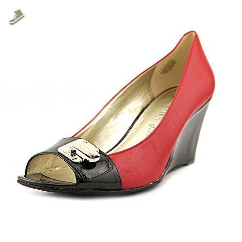 6a663608e3d2c Anne Klein Women's Palmyra Wedge,Red/Black Leather,US 8 M - Anne ...