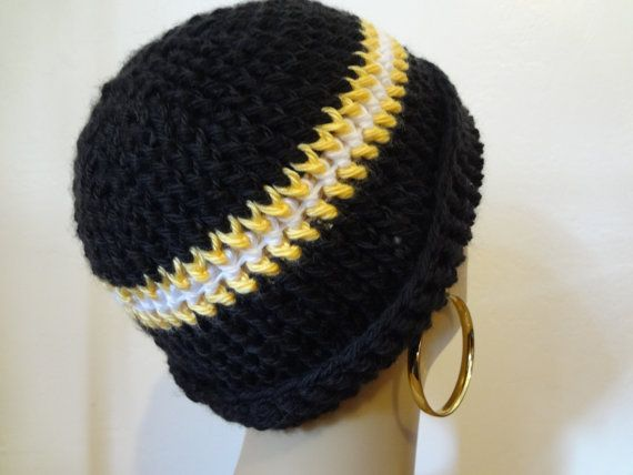 55a9ad0ff ... coupon code pittsburgh steelers ribbed beanie sports by  tenderlovingcrafts4u b219c 6ded9